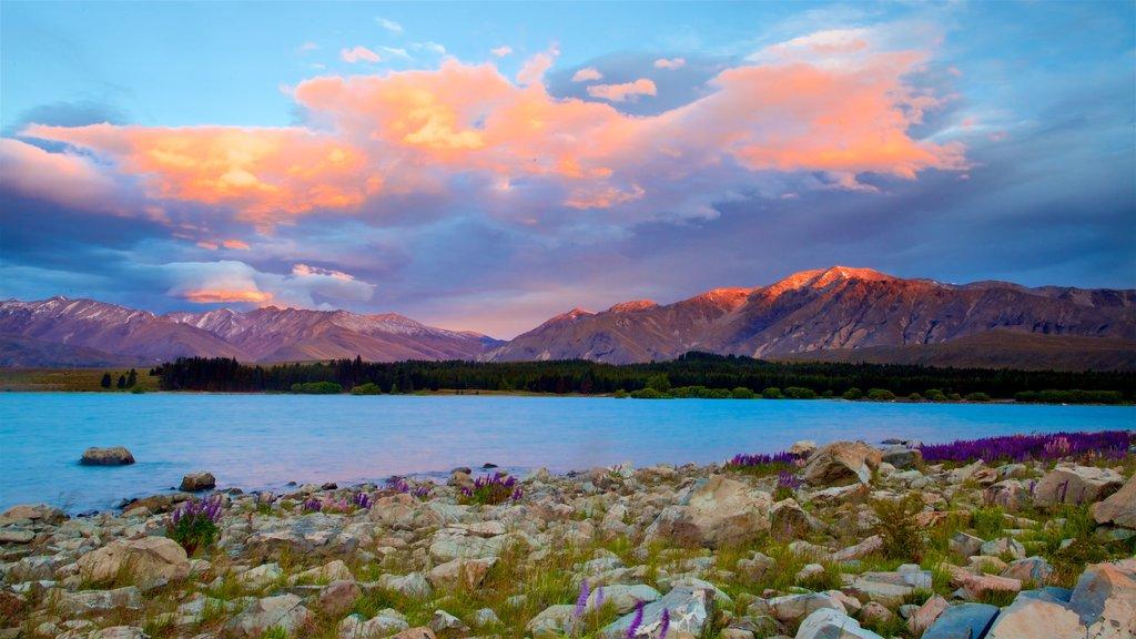 Lake Tekapo featuring a sunset, mountains and a lake or waterhole