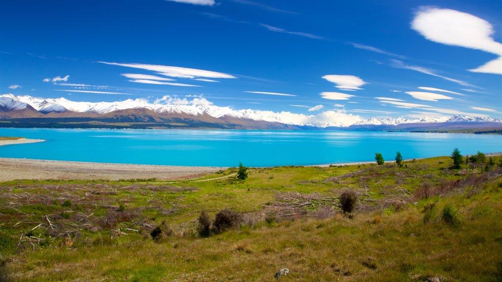 Lake Pukaki que incluye un lago o abrevadero y escenas tranquilas