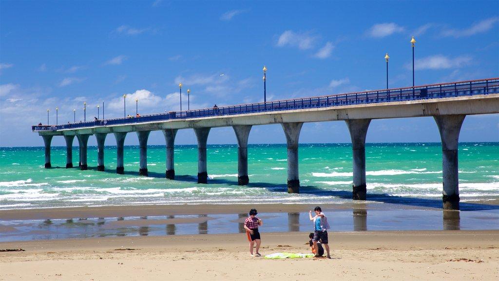 New Brighton Beach featuring a beach and general coastal views as well as children