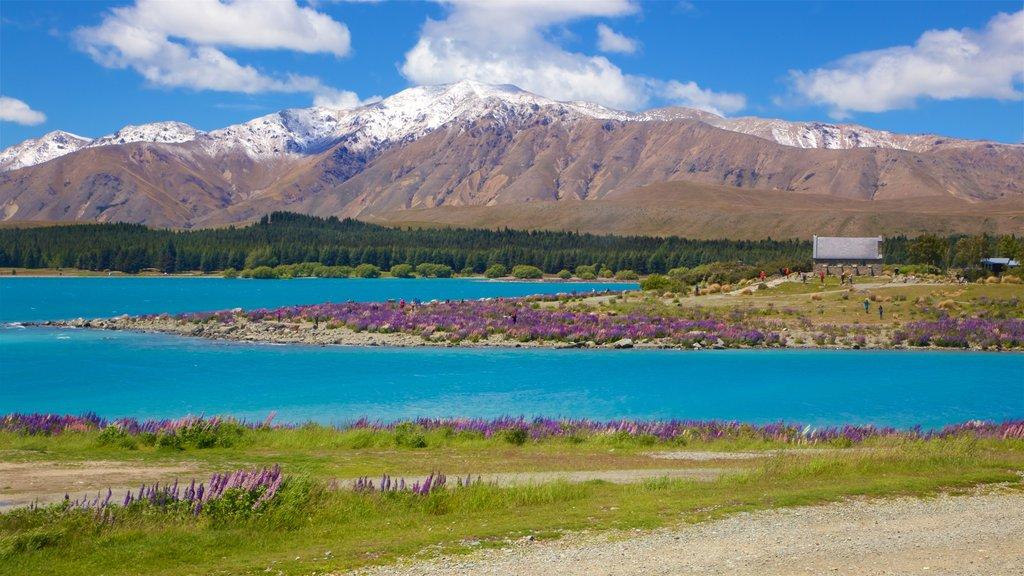 Church of the Good Shepherd mostrando montañas, un lago o abrevadero y escenas tranquilas