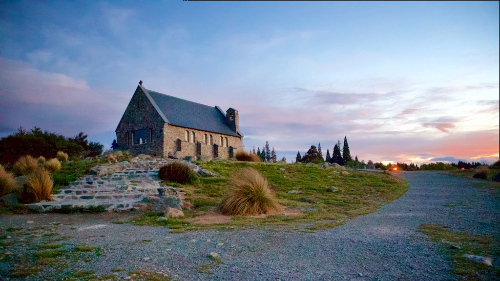 Church of the Good Shepherd showing a church or cathedral, a sunset and tranquil scenes