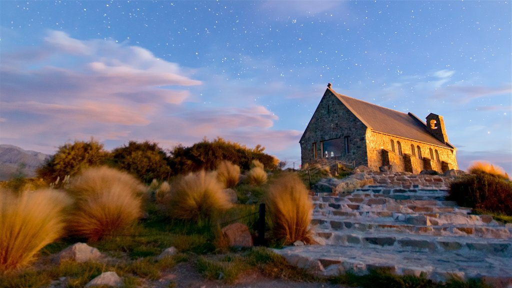 Church of the Good Shepherd featuring night scenes, a church or cathedral and a sunset