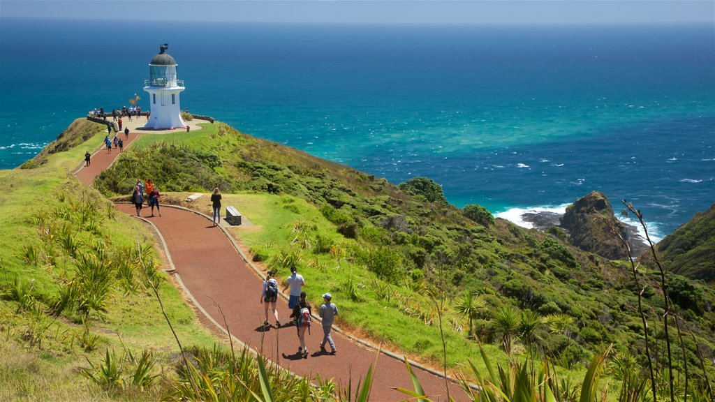 Cape Reinga Lighthouse featuring a lighthouse, views and general coastal views