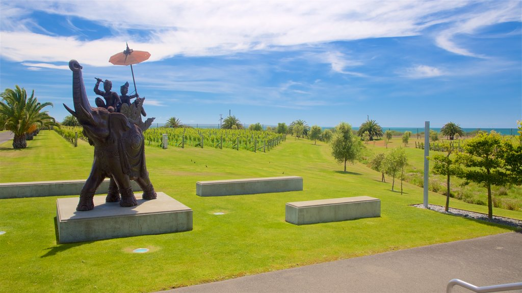 Elephant Hill Estate Winery featuring a garden, farmland and outdoor art