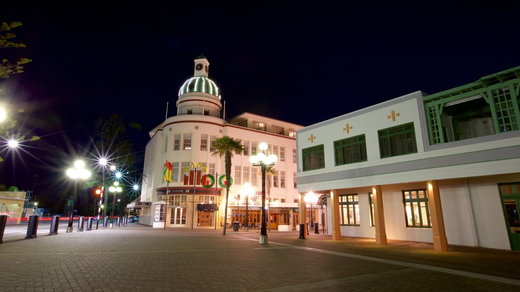 Napier featuring night scenes and a square or plaza