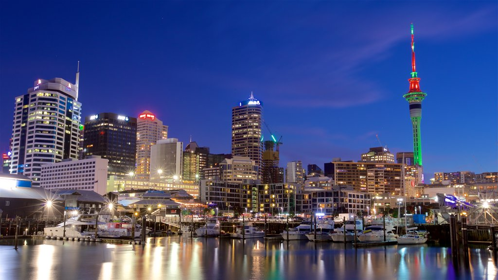 Viaduct Harbour featuring night scenes, a high rise building and a city