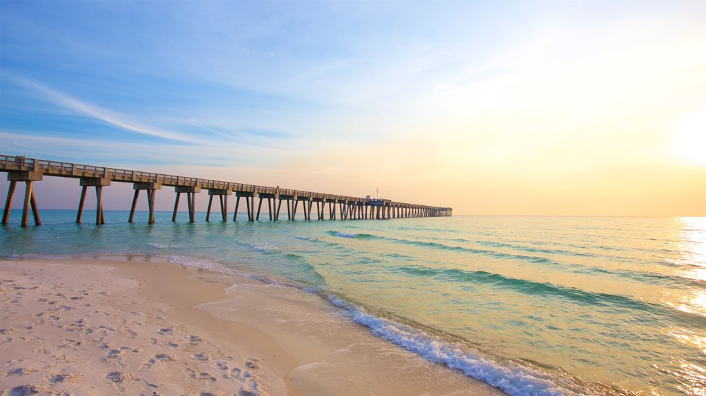 Panama City Beach featuring a sunset, a sandy beach and general coastal views