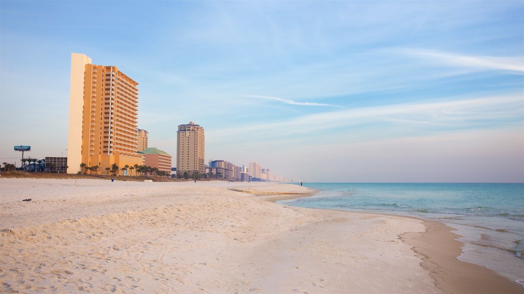 Panama City Beach which includes a sunset, a coastal town and general coastal views