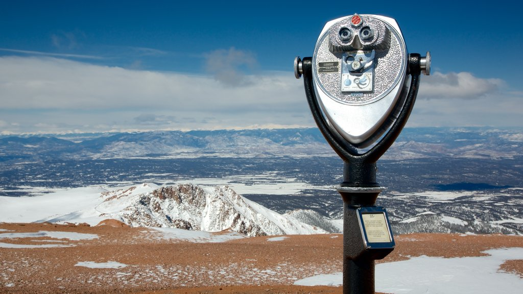 Pikes Peak featuring landscape views, snow and tranquil scenes