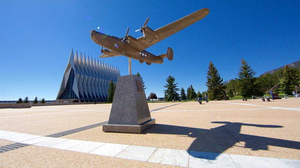 US Air Force Academy which includes a square or plaza, military items and a memorial