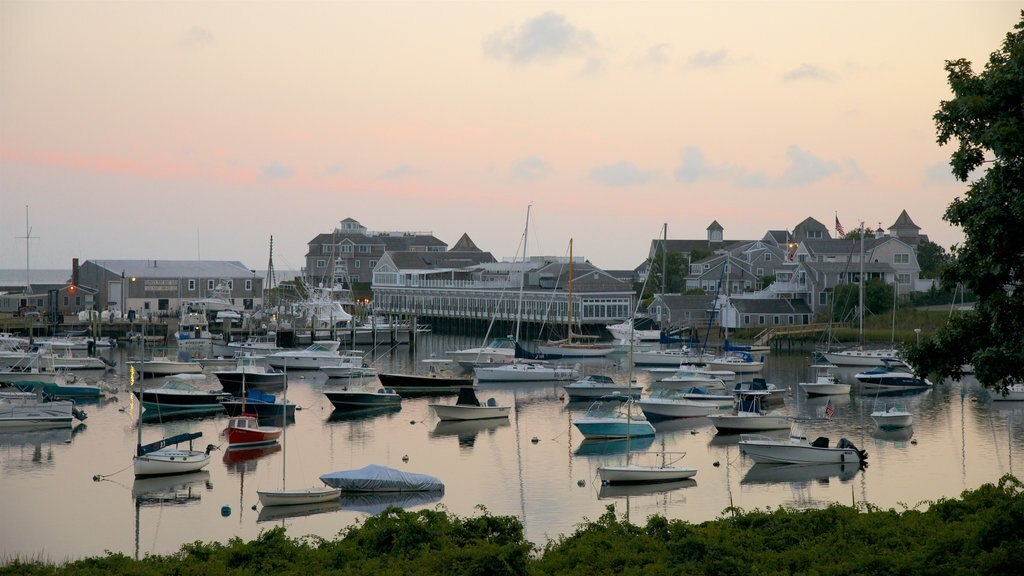 Harwich featuring boating, a bay or harbor and a sunset