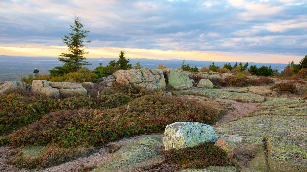 Cadillac Mountain que inclui paisagens litorâneas e um pôr do sol