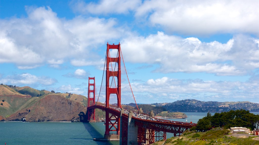 Golden Gate Bridge showing a river or creek and a bridge