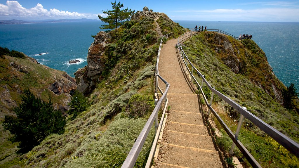 Muir Beach featuring views, rocky coastline and general coastal views