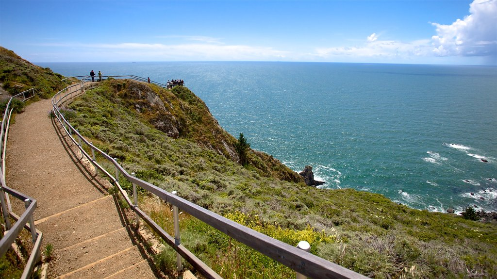 Muir Beach which includes general coastal views, rocky coastline and views