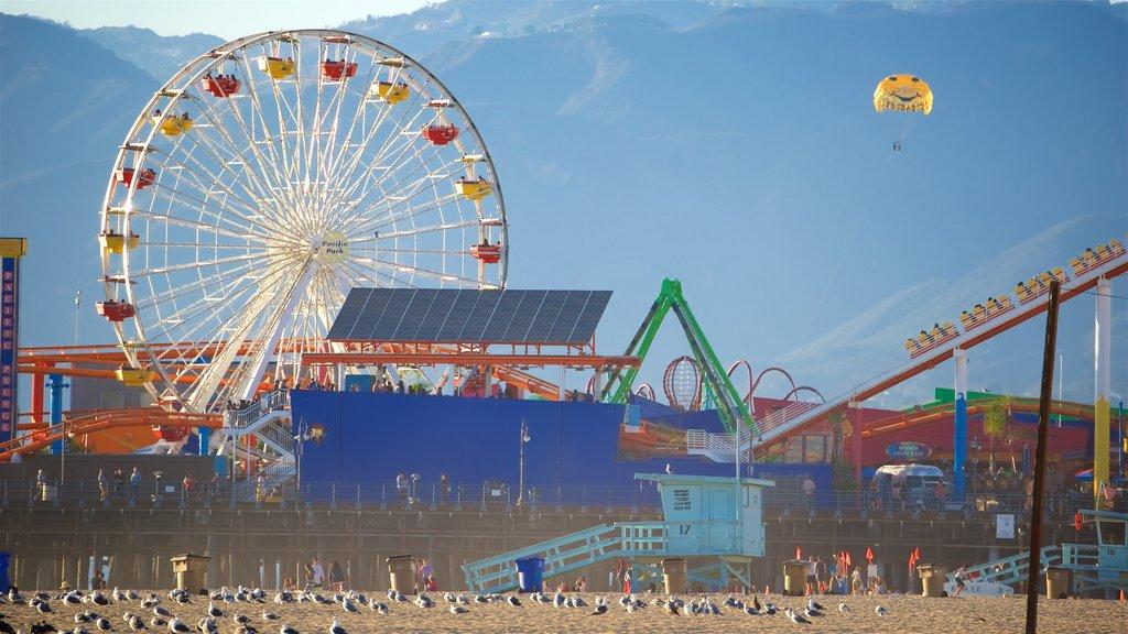 Santa Monica Beach featuring rides, a beach and general coastal views