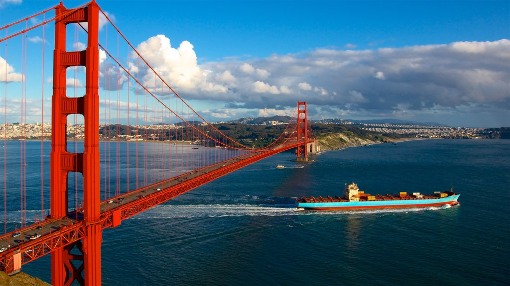 Golden Gate Bridge which includes a ferry, a bridge and a river or creek