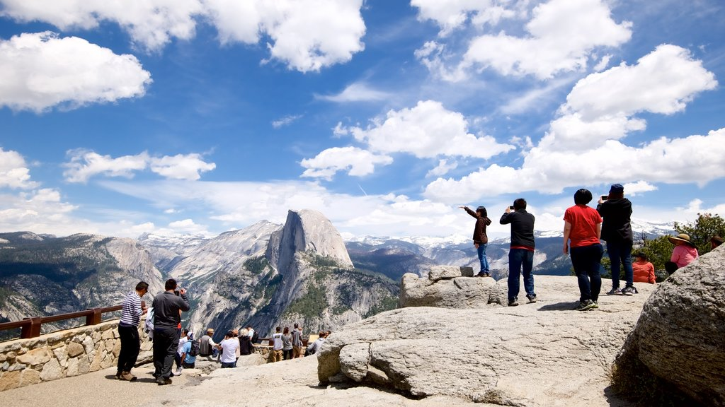 Glacier Point which includes mountains, tranquil scenes and views