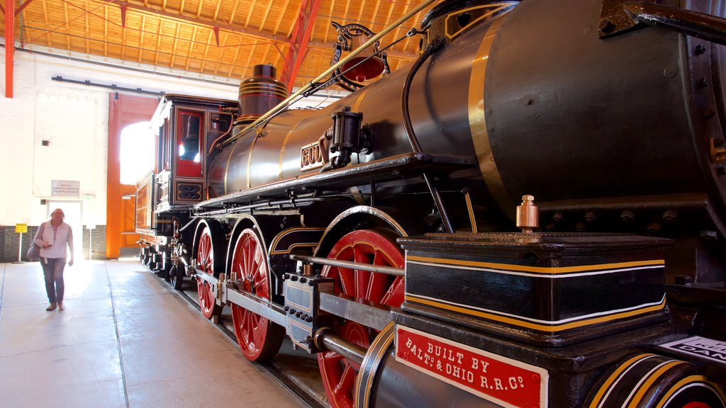 B&O Railroad Museum featuring interior views and heritage elements as well as an individual femail