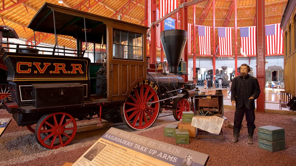 B&O Railroad Museum featuring heritage elements, signage and interior views