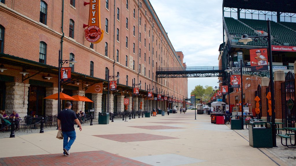 Oriole Park at Camden Yards featuring signage as well as an individual male