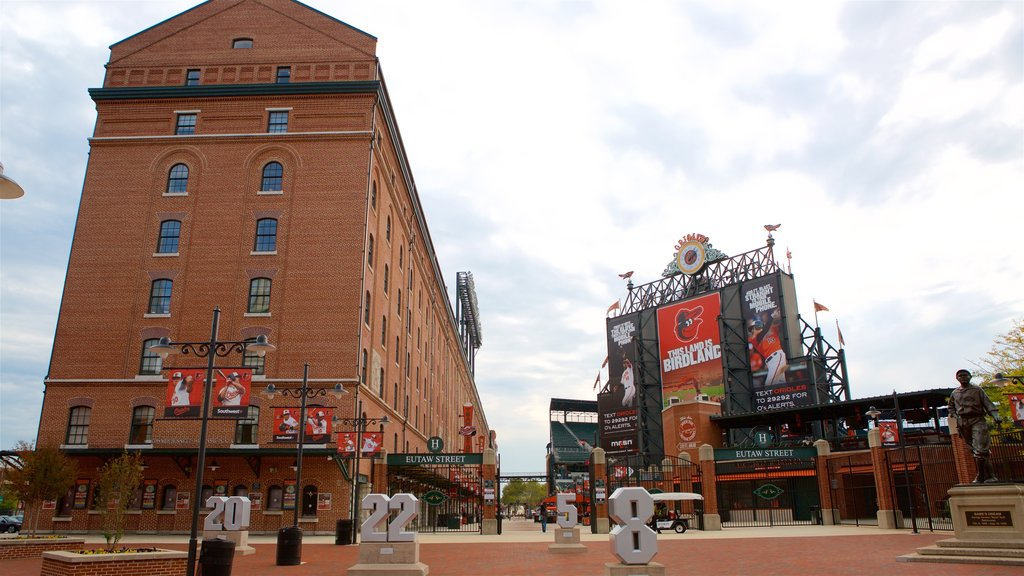 Oriole Park at Camden Yards featuring signage