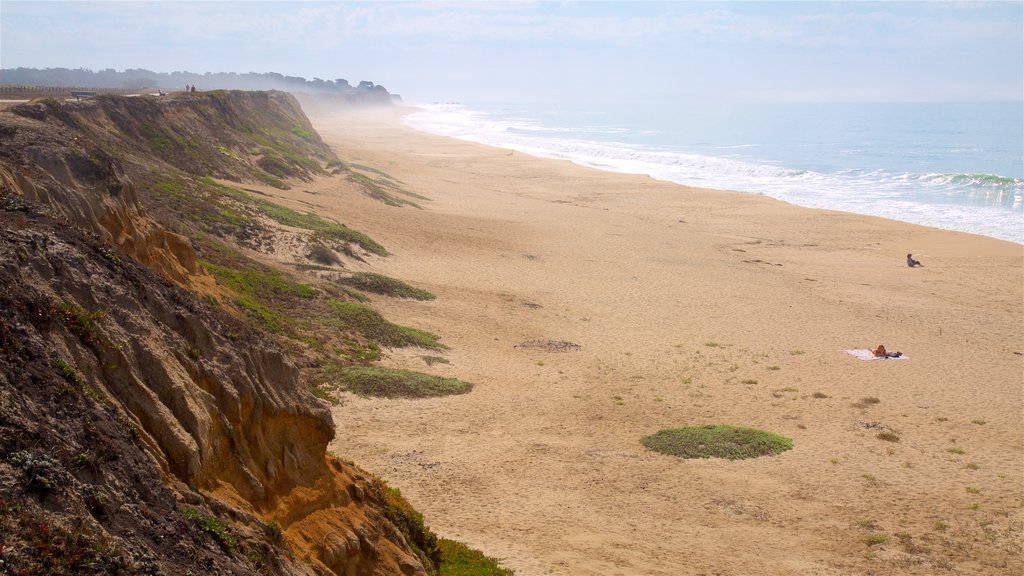 Half Moon Bay which includes a beach and general coastal views