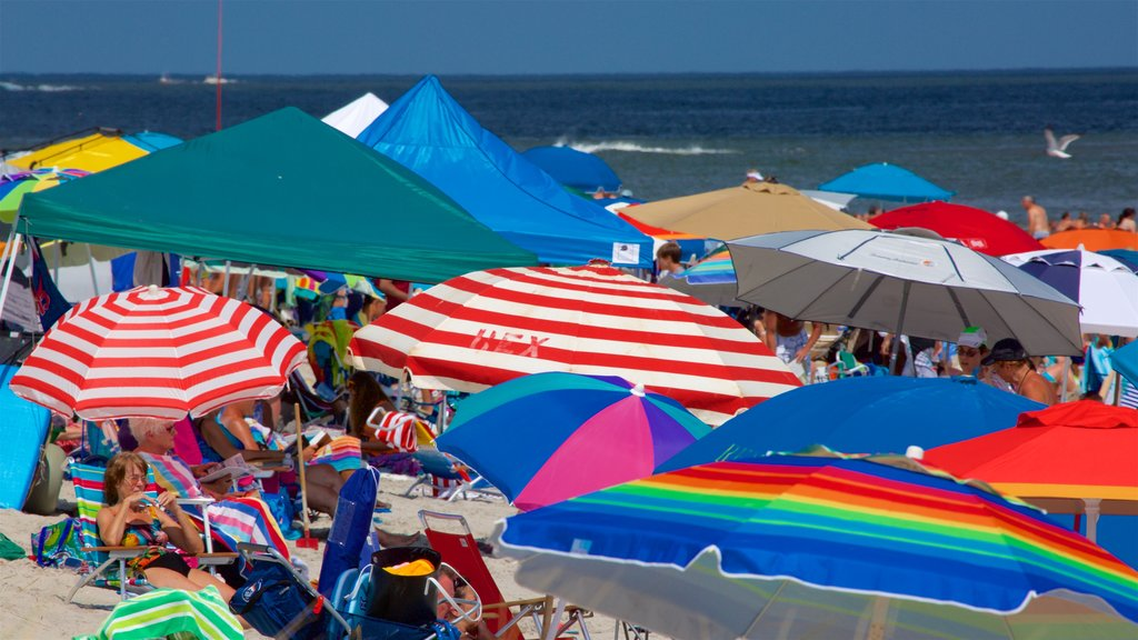 Ocean City which includes a sandy beach and general coastal views as well as a large group of people