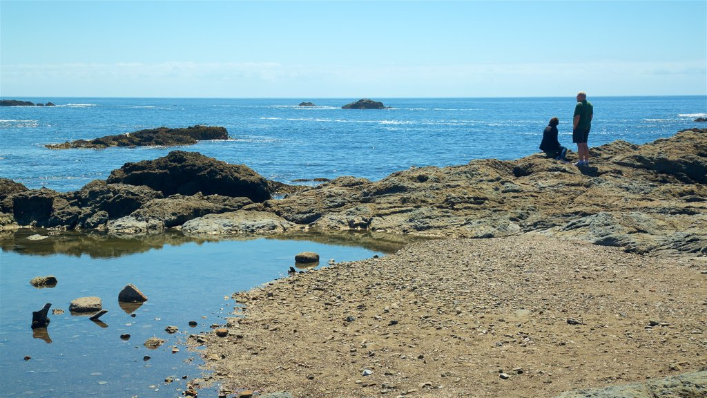 Glass Beach featuring general coastal views and rocky coastline as well as a couple