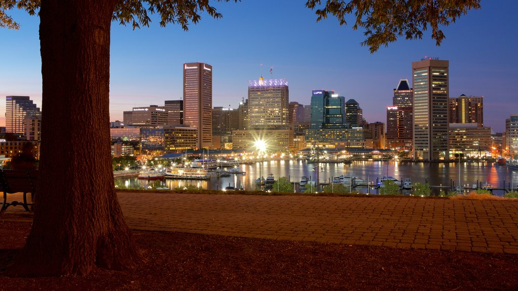 Federal Hill Park showing night scenes, a bay or harbor and a city