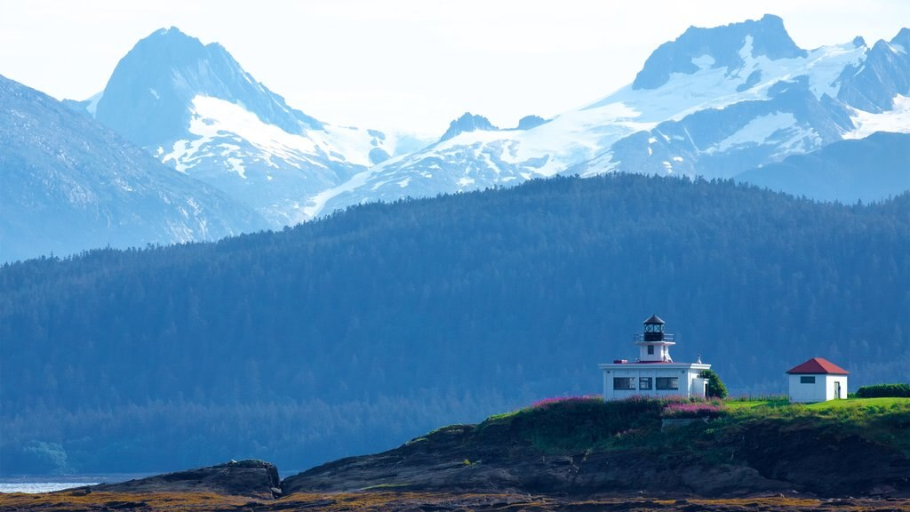 Juneau which includes tranquil scenes, a lighthouse and mountains