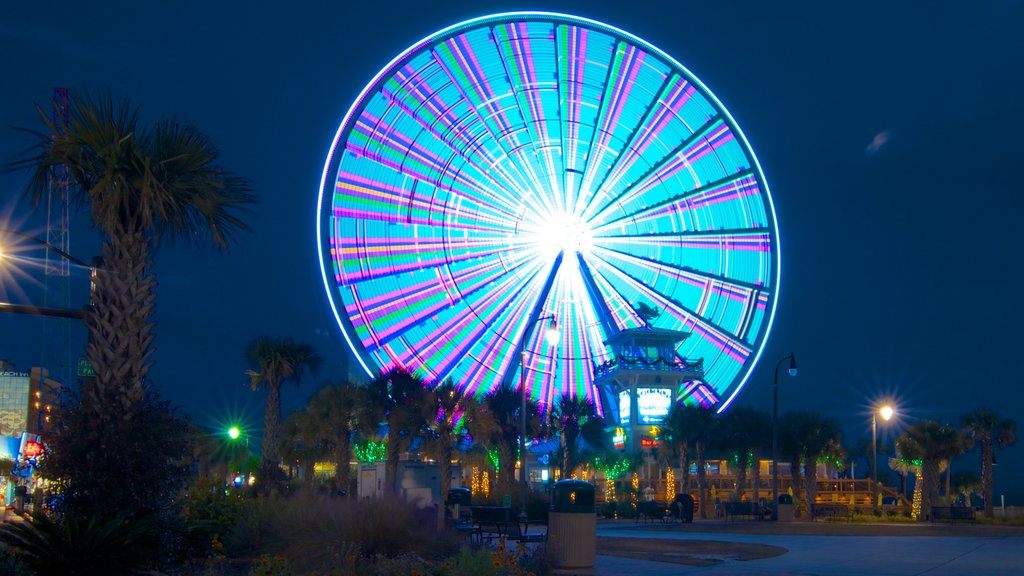 Myrtle Beach featuring night scenes, rides and a city