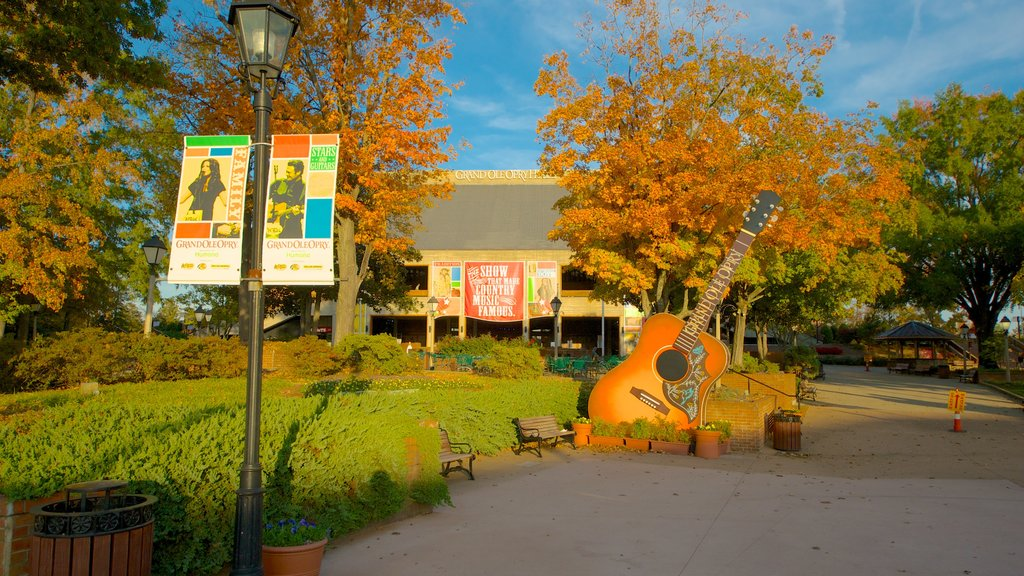 Grand Ole Opry showing fall colors, music and a garden