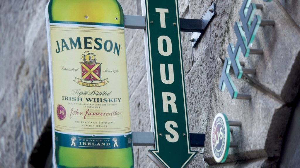 Old Jameson Distillery featuring signage and a bar
