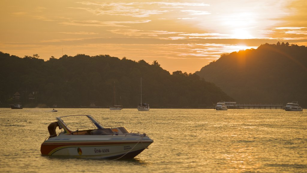 Patong which includes landscape views, a sunset and a bay or harbor