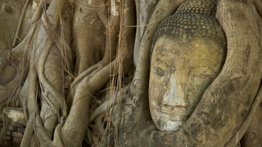 Ayutthaya featuring building ruins, outdoor art and a monument