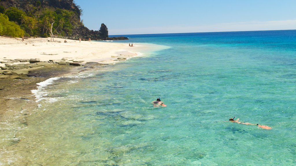 Mamanuca Islands featuring snorkeling, tropical scenes and a beach