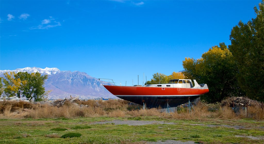 Utah Lake State Park featuring a garden and mountains