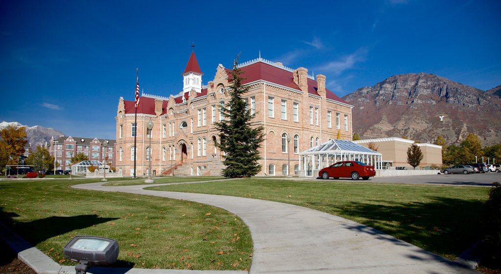 Provo which includes heritage architecture and a garden