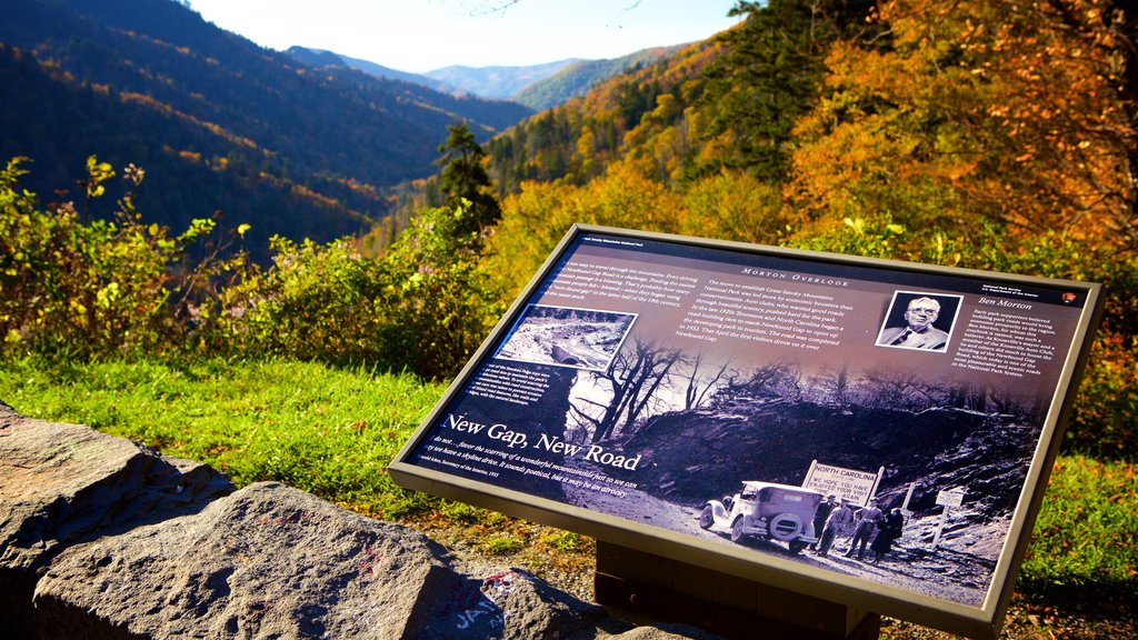 Great Smoky Mountains National Park featuring autumn leaves, tranquil scenes and signage