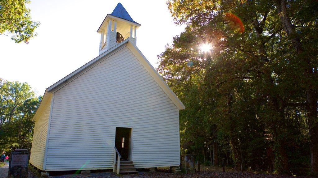 Cades Cove ofreciendo una iglesia o catedral y un jardín