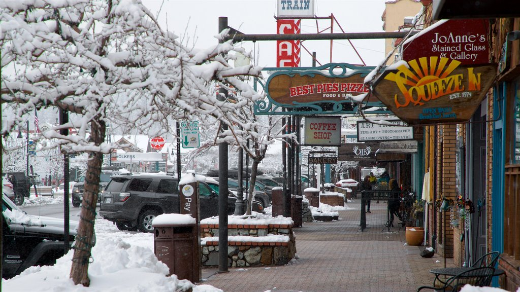 Truckee featuring signage and snow