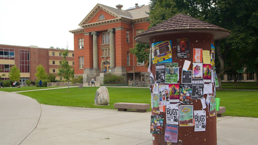 Missoula which includes signage, a garden and heritage elements