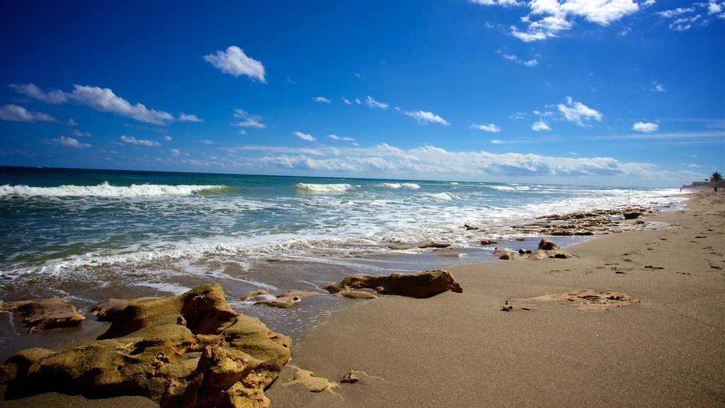 Jupiter showing general coastal views, surf and a beach