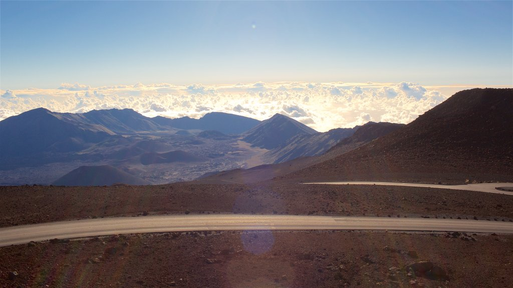 Haleakala National Park which includes mountains, tranquil scenes and landscape views
