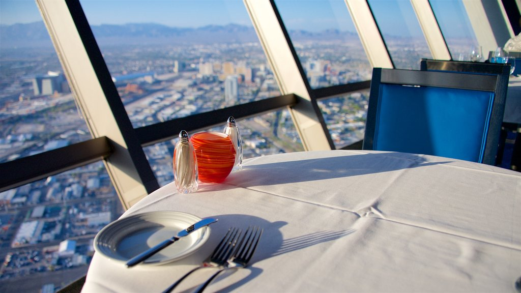 Stratosphere Tower featuring interior views and a city