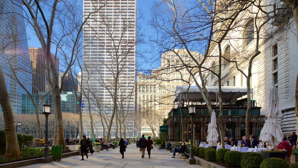 Bryant Park featuring outdoor eating, a garden and a city