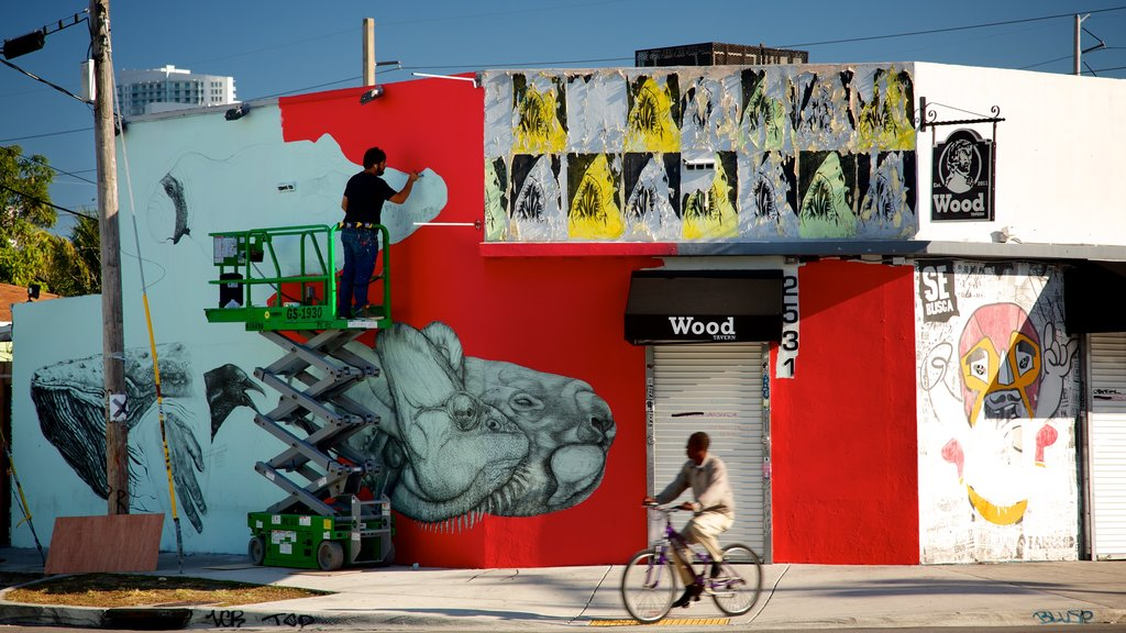 Wynwood Art District featuring outdoor art and road cycling as well as an individual male