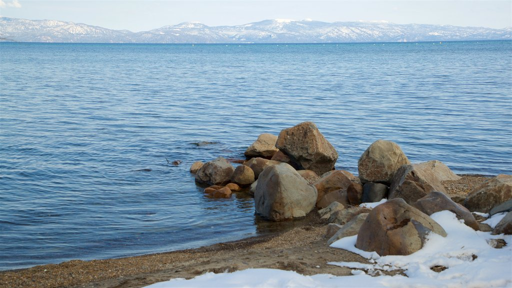 Tahoe City which includes general coastal views and snow