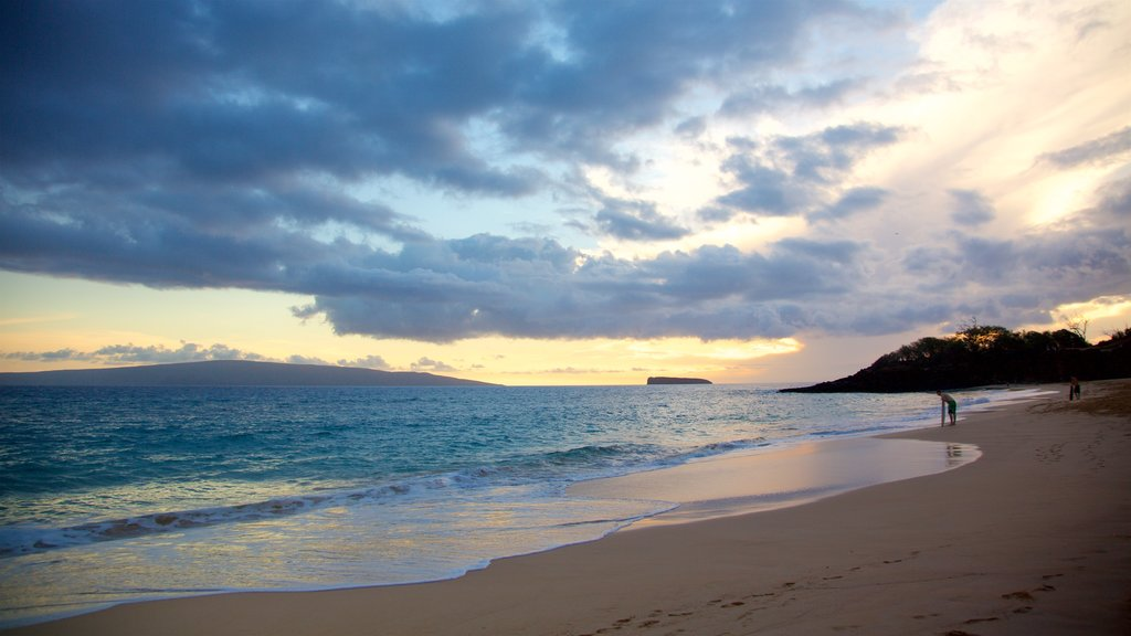 Makena Beach State Park featuring general coastal views, a beach and a sunset